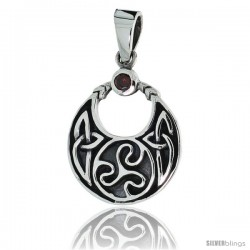 "Sterling Silver Round Celtic Pendant w/ Single Red CZ, w/ 18"" Thin Box Chain"