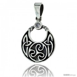 "Sterling Silver Round Celtic Pendant w/ Single Clear CZ, w/ 18"" Thin Box Chain"