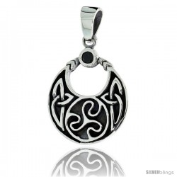"Sterling Silver Round Celtic Pendant w/ Single Black CZ, w/ 18"" Thin Box Chain"