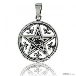 "Sterling Silver Celtic Pentagram Pendant w/ Single Black CZ, w/ 18"" Thin Box Chain"