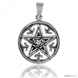 "Sterling Silver Celtic Pentagram Pendant w/ Single Clear CZ, w/ 18"" Thin Box Chain"