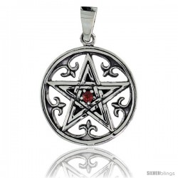 "Sterling Silver Celtic Pentagram Pendant w/ Single Red CZ, w/ 18"" Thin Box Chain"
