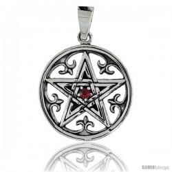 "Sterling Silver Celtic Pentagram Pendant w/ Single Red CZ, w/ 18"" Thin Box Chain"