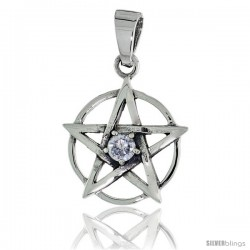 "Sterling Silver Pentagram Pendant w/ Single Clear CZ, w/ 18"" Thin Box Chain"