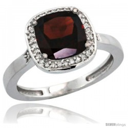 Sterling Silver Diamond Natural Garnet Ring 2.08 ct Checkerboard Cushion 8mm Stone 1/2.08 in wide