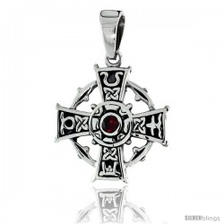 "Sterling Silver Celtic Cross Pendant w/ Single Red CZ, w/ 18"" Thin Box Chain"