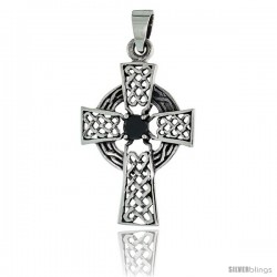 "Sterling Silver Celtic High Cross Pendant w/ Single Black CZ, w/ 18"" Thin Box Chain"