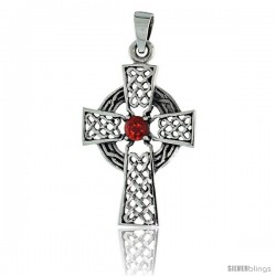 "Sterling Silver Celtic High Cross Pendant w/ Single Red CZ, w/ 18"" Thin Box Chain"