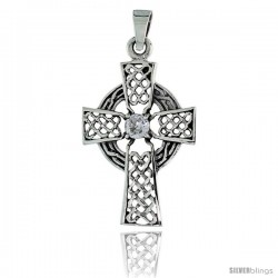 "Sterling Silver Celtic High Cross Pendant w/ Single Clear CZ, w/ 18"" Thin Box Chain"