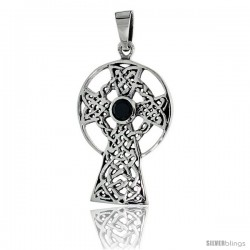 "Sterling Silver Celtic High Cross Pendant w/ Single Black CZ, w/ 18"" Thin Box Chain -Style Pcz1018"