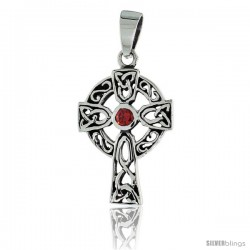 "Sterling Silver Trinity Celtic Cross Pendant w/ Single Red CZ, w/ 18"" Thin Box Chain"