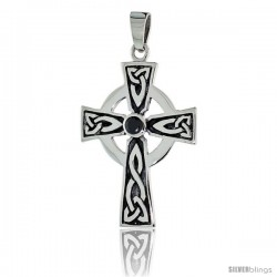 "Sterling Silver Presbyterian Trinity Celtic Cross Pendant w/ Single Black CZ, w/ 18"" Thin Box Chain"