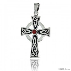 "Sterling Silver Presbyterian Trinity Celtic Cross Pendant w/ Single Red CZ, w/ 18"" Thin Box Chain"