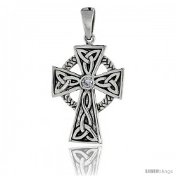 "Sterling Silver Trinity Celtic High Cross Pendant w/ Single Clear CZ, w/ 18"" Thin Box Chain"