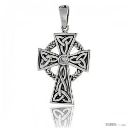 "Sterling Silver Trinity Celtic High Cross Pendant w/ Single Clear CZ, w/ 18"" Thin Box Chain"