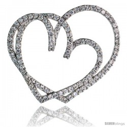 "Sterling Silver Double Heart Slider Pendant w/ Pave CZ Stones, 1 3/8"" (35 mm) tall"