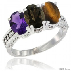 14K White Gold Natural Amethyst, Smoky Topaz & Tiger Eye Ring 3-Stone 7x5 mm Oval Diamond Accent