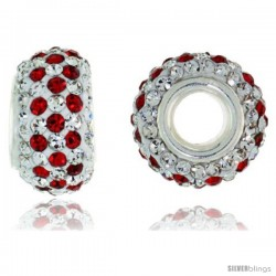 Sterling Silver Crystal Bead Charm White & Red Color w/ Swarovski Elements, 13 mm -Style Pcz316