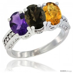 14K White Gold Natural Amethyst, Smoky Topaz & Whisky Quartz Ring 3-Stone 7x5 mm Oval Diamond Accent