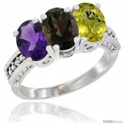 14K White Gold Natural Amethyst, Smoky Topaz & Lemon Quartz Ring 3-Stone 7x5 mm Oval Diamond Accent