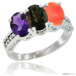 14K White Gold Natural Amethyst, Smoky Topaz & Coral Ring 3-Stone 7x5 mm Oval Diamond Accent