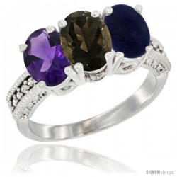 14K White Gold Natural Amethyst, Smoky Topaz & Lapis Ring 3-Stone 7x5 mm Oval Diamond Accent
