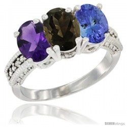 14K White Gold Natural Amethyst, Smoky Topaz & Tanzanite Ring 3-Stone 7x5 mm Oval Diamond Accent