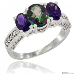 14k White Gold Ladies Oval Natural Mystic Topaz 3-Stone Ring with Amethyst Sides Diamond Accent