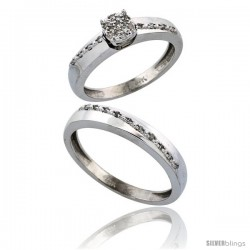 14k White Gold 2-Piece Diamond Ring Set ( Engagement Ring & Man's Wedding Band ), 0.22 Carat Brilliant Cut -Style Ljw204em