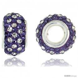 Sterling Silver Crystal Bead Charm White & Violet Color w/ Swarovski Elements, 13 mm