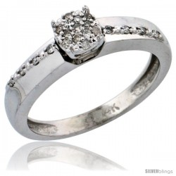 14k White Gold Diamond Engagement Ring, w/ 0.14 Carat Brilliant Cut Diamonds, 1/8 in. (3.5mm) wide -Style Ljw204er