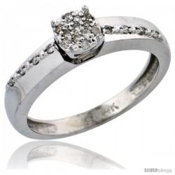 14k White Gold Diamond Engagement Ring, w/ 0.14 Carat Brilliant Cut Diamonds, 1/8 in. (3.5mm) wide -Style Ljw204er