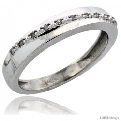 14k White Gold Ladies' Diamond Band, w/ 0.08 Carat Brilliant Cut Diamonds, 1/8 in. (3.5mm) wide -Style Ljw204lb