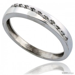 14k White Gold Men's Diamond Band, w/ 0.08 Carat Brilliant Cut Diamonds, 1/8 in. (3.5mm) wide -Style Ljw204mb