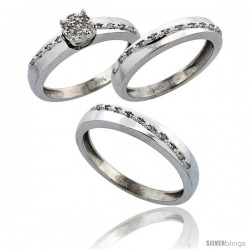 14k White Gold 3-Piece Trio His (3.5mm) & Hers (3.5mm) Diamond Wedding Band Set, w/ 0.30 Carat Brilliant Cut -Style Ljw204w3