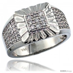14k White Gold Heavy & Solid Men's Square Diamond Ring, w/ 0.42 Carat Brilliant Cut ( H-I Color VS2-SI1 Clarity ) Diamonds