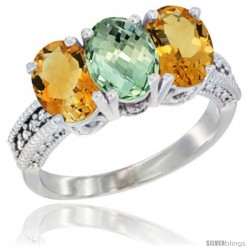 14K White Gold Natural Green Amethyst & Citrine Sides Ring 3-Stone 7x5 mm Oval Diamond Accent