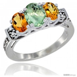 14K White Gold Natural Green Amethyst & Citrine Ring 3-Stone Oval with Diamond Accent