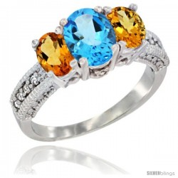 14k White Gold Ladies Oval Natural Swiss Blue Topaz 3-Stone Ring with Citrine Sides Diamond Accent
