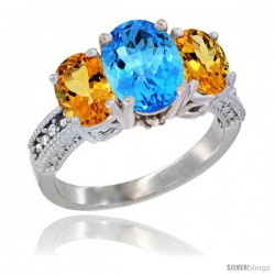 14K White Gold Ladies 3-Stone Oval Natural Swiss Blue Topaz Ring with Citrine Sides Diamond Accent