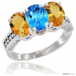 14K White Gold Natural Swiss Blue Topaz & Citrine Sides Ring 3-Stone 7x5 mm Oval Diamond Accent