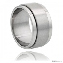 Surgical Steel 10mm Spinner Ring Wedding Band Matte Center
