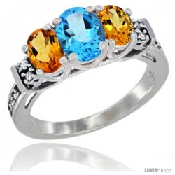 14K White Gold Natural Swiss Blue Topaz & Citrine Ring 3-Stone Oval with Diamond Accent