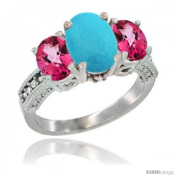 10K White Gold Ladies Natural Turquoise Oval 3 Stone Ring with Pink Topaz Sides Diamond Accent