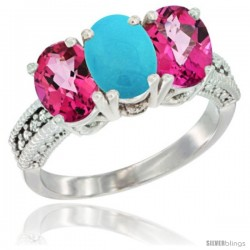 10K White Gold Natural Turquoise & Pink Topaz Sides Ring 3-Stone Oval 7x5 mm Diamond Accent