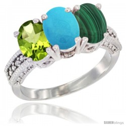 10K White Gold Natural Peridot, Turquoise & Malachite Ring 3-Stone Oval 7x5 mm Diamond Accent