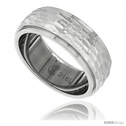 Surgical Steel Domed 8mm Wedding Band Ring Hammered Finish Recessed Edges