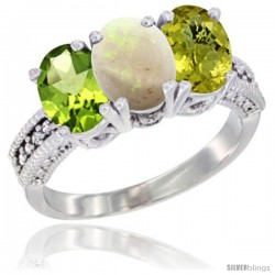 10K White Gold Natural Peridot, Opal & Lemon Quartz Ring 3-Stone Oval 7x5 mm Diamond Accent