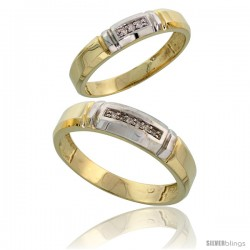 Gold Plated Sterling Silver Diamond 2 Piece Wedding Ring Set His 5.5mm & Hers 4mm -Style Agy123w2