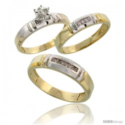Gold Plated Sterling Silver Diamond Trio Wedding Ring Set His 5.5mm & Hers 4mm -Style Agy123w3